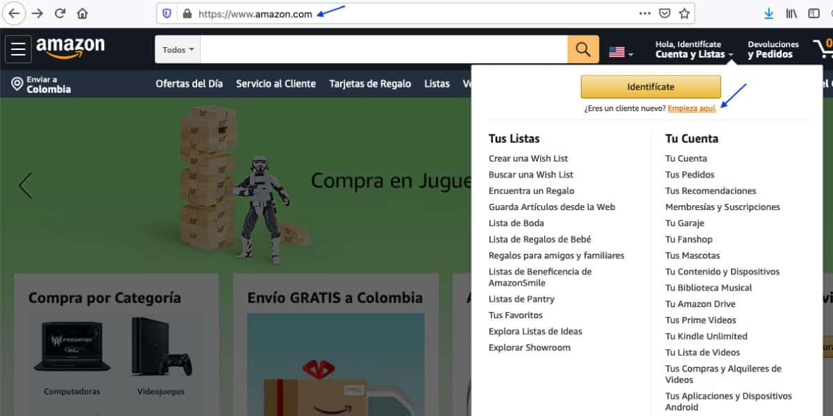 registro en Amazon